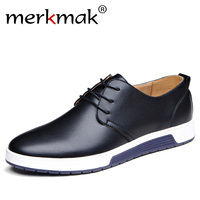 Merkmak Luxury Brand Men Shoes Casual Leather Fashion Trendy Black Blue Brown Flat Shoes For Men