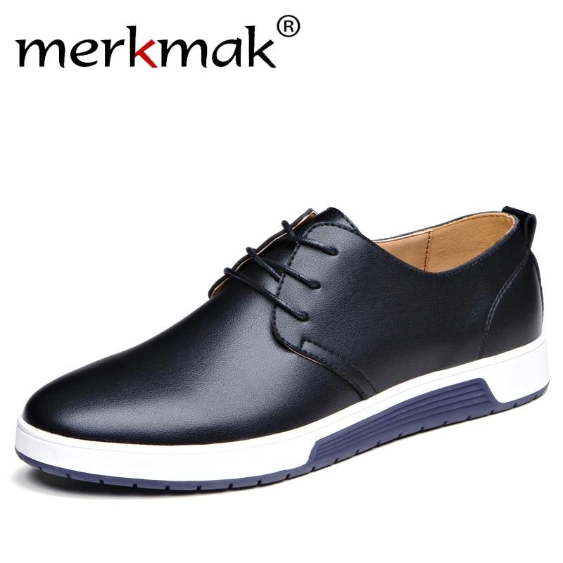 Merkmak Luxury Brand Men Shoes Casual Leather Fashion Trendy Black Blue Brown Flat Shoes for Men Drop Shipping