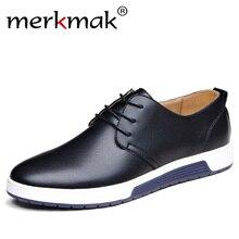 Merkmak/Элитный бренд Мужская обувь Повседневное кожаные модные Мода цвет: черный, синий коричневый плоский Обувь для Для мужчин Прямая доставка