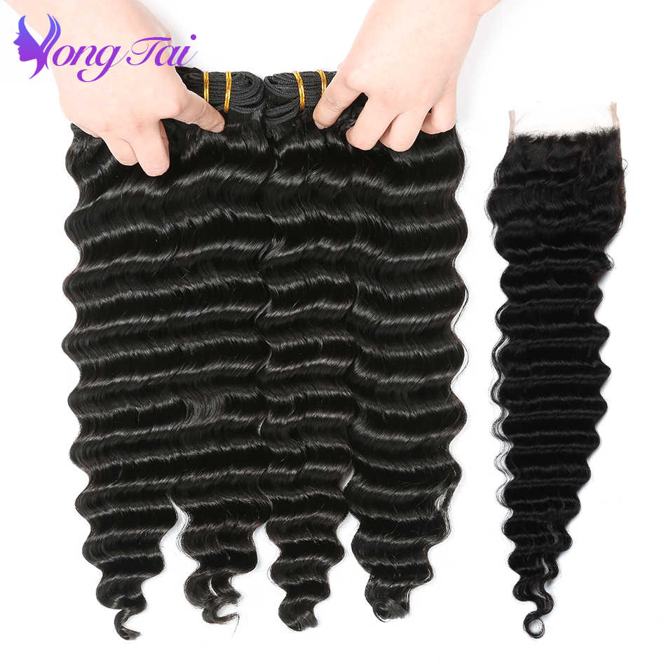 Yuyongtai Hair Indian Deep Wave Bundles with Closure Human HairNon remy hair  3 Bundles 100% Human Hair Extension Natural