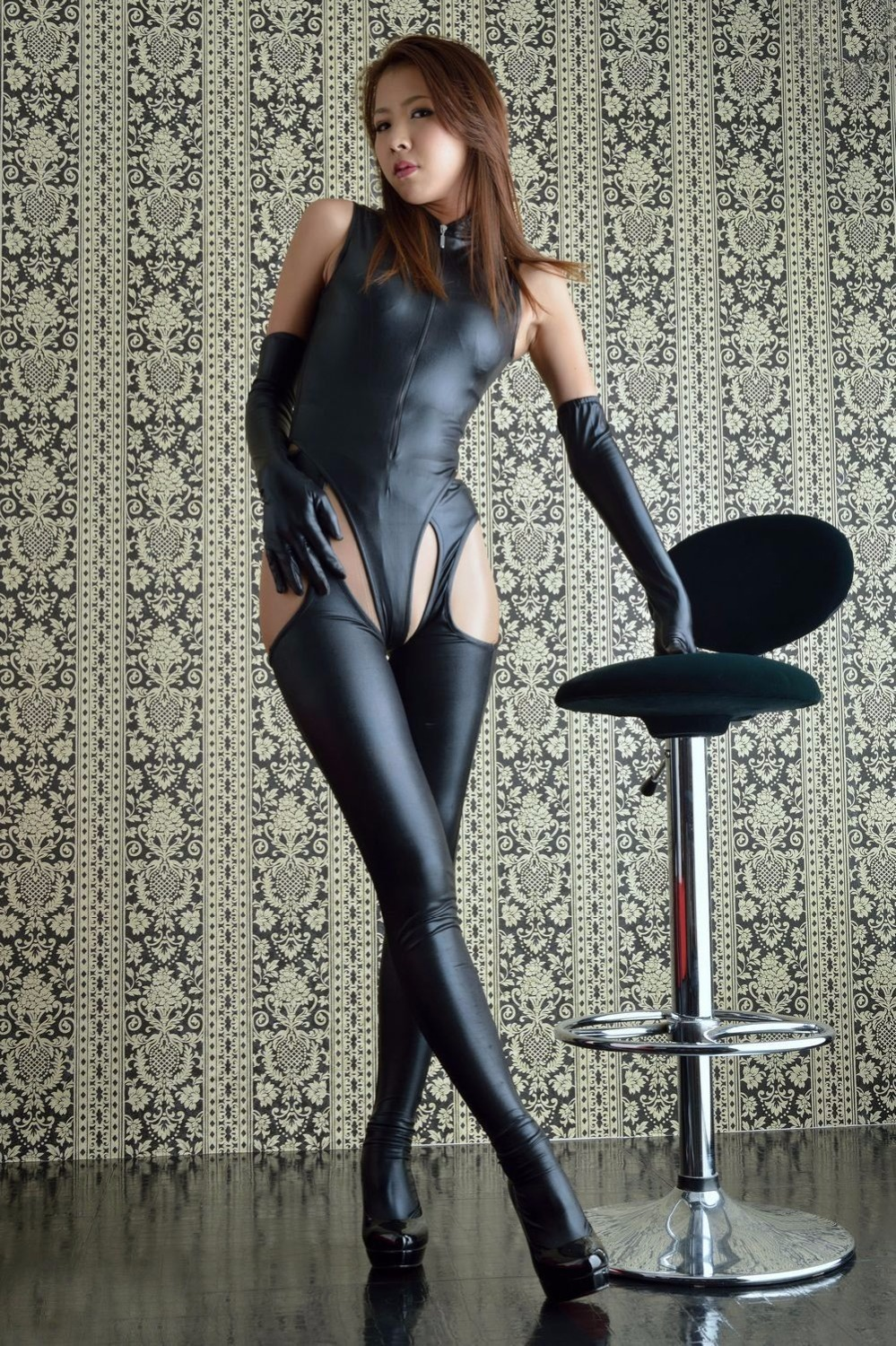 Sexy Wet Look Teddy, Suspender Stocking Leggings, Opera -1905