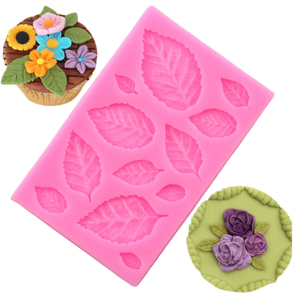 Sugarcraft Leaves Silicone Mold Candy Polymer Clay Fondant Mould Cake Decorationg Tool Flower Making GumPaste Rose Leaf Molds