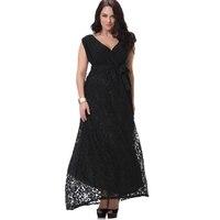 Summer Women Plus Size Maxi Dress Vintage V Neck Big Sized 6xl 7xl 8xl Lace Patchwork Long Black Dress Robe Ete Robe Dentelle
