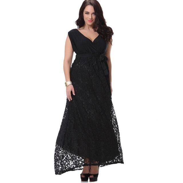 Summer Women Plus Size Maxi Dress Vintage V Neck Big Sized 6xl 7xl 8xl Lace  Patchwork Long Black Dress Robe Ete Robe Dentelle 6bd60560fbcf