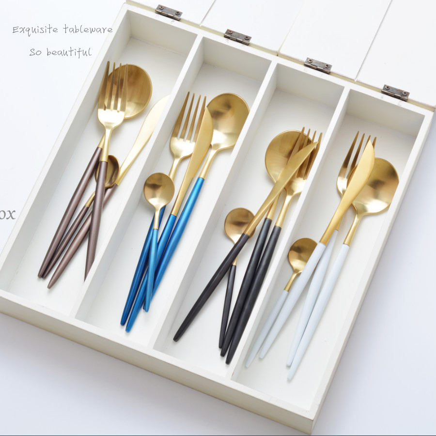 KTL 24 pièces bleu or Brwon vaisselle ensemble haute qualité 304 acier inoxydable dîner couteau fourchette cuillère à café blanc couverts ensemble