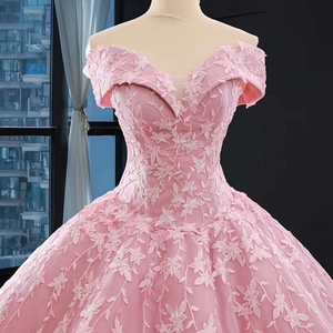 Image 5 - J66590 jancember אפליקציות ורוד מתוקה Quinceanera שמלות 2020 כבוי כתף כדור שמלות קצר שרוול