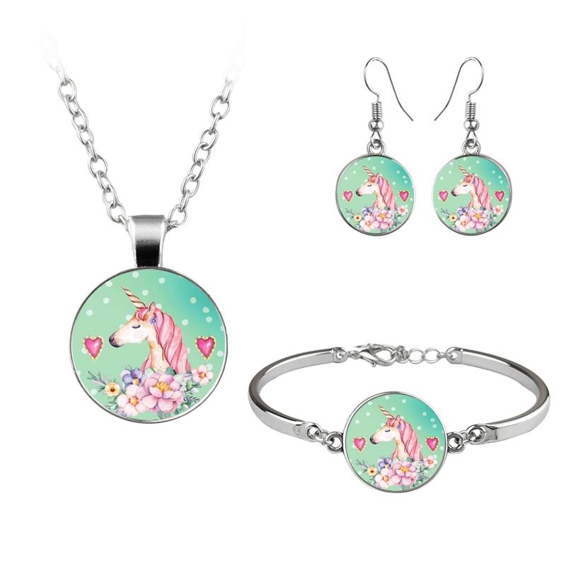 Cut Kawaii Unicorn Jewelry Set Silver Color Glass Dome Earrings Bracelets & Bangles Necklace Jewellery Sets For Girls Kids