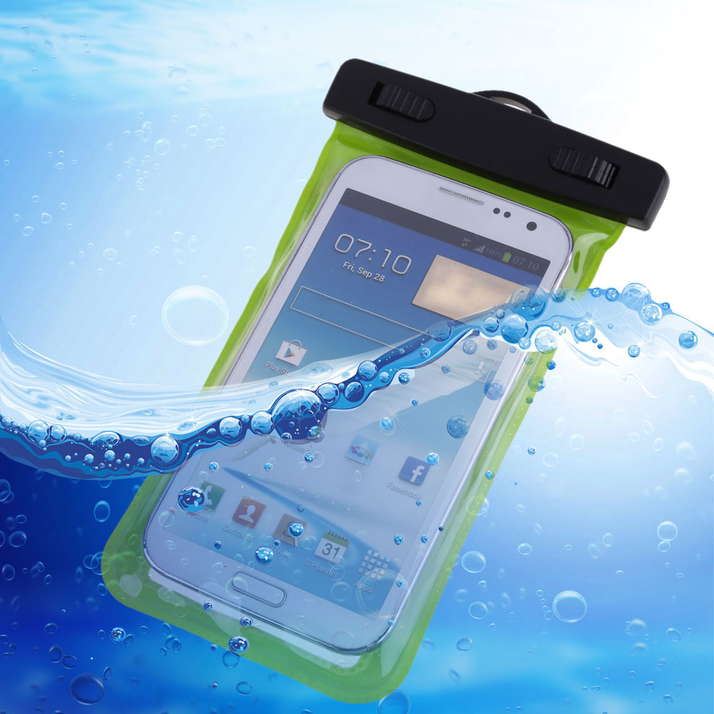 Universal 3.5mm Green Waterproof Swimming Phone Cover Against Water Dry Arm Case Bag for Cell Phones Smartphone Mobile Phone