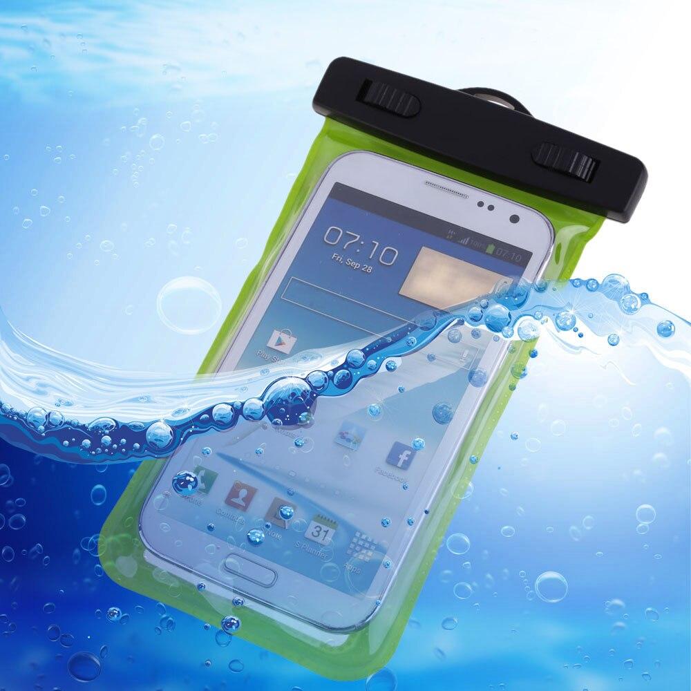 Universal 3.5mm Verde Natación Impermeable Del Teléfono Cubierta de la Caja del