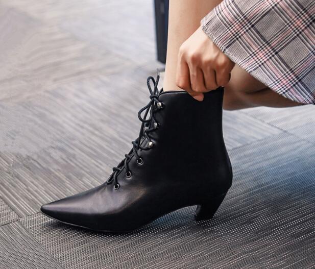 Tobillo as Moda cuero Talón Estilo Botas Pic Nueva Toe Cortas Pic Strange up De Europeo Otoño Mujeres Suede Lace Negro Pointed 2018 As xEg14wAPqn