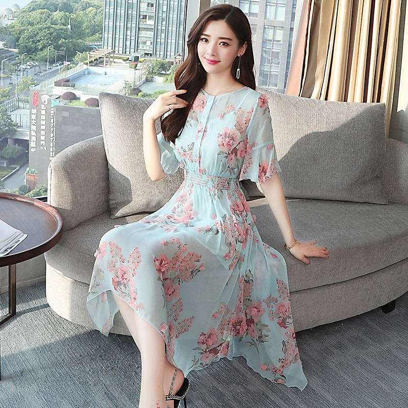 965624b4ac9 Plus Size Summer Vintage Floral Chiffon Boho Dress 2018 Korean Elegant  Woman Midi Shirt Dresses Party Casual Beach Sun Vestidos