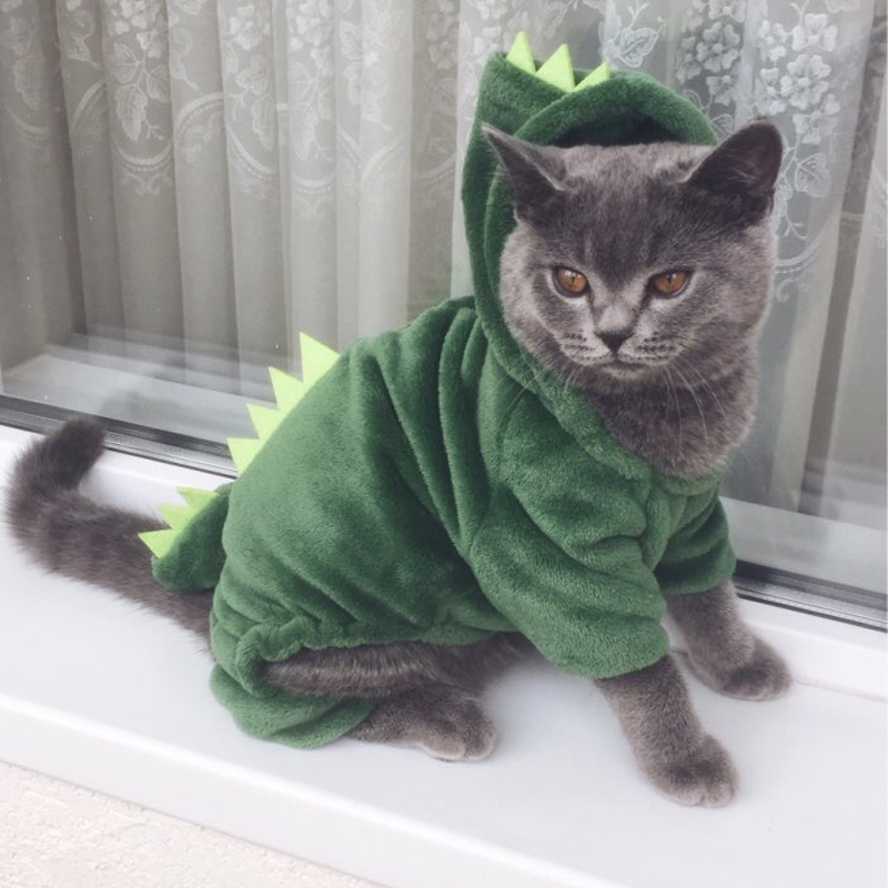 5fd90bb5d5fc Funny Dinosaur Design Cat Costume Winter Fleece Cat Clothes For Small Cats  Hoodie Kitten Dog Clothing Pet Warm Coat-in Cat Clothing from Home & Garden