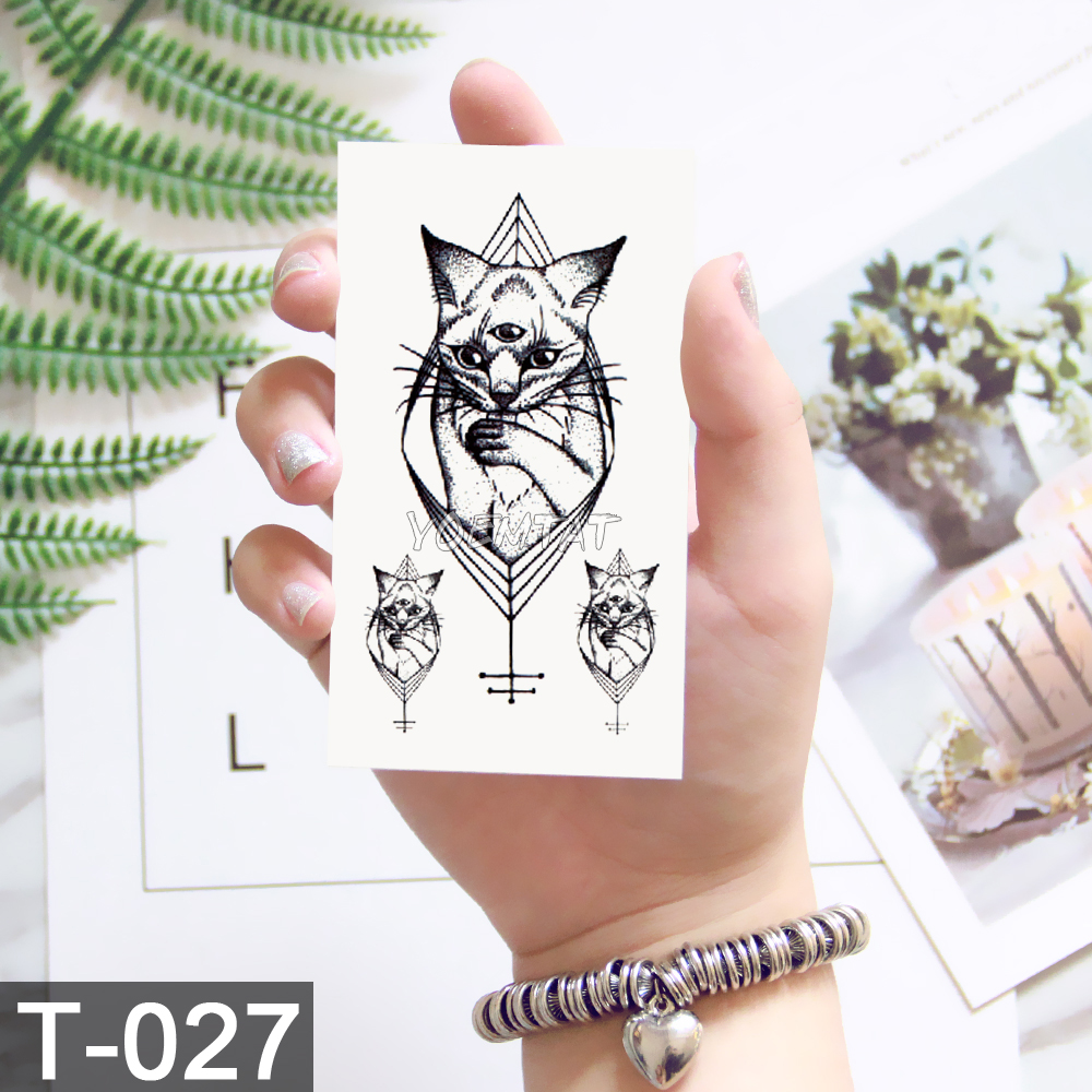 Black Geometric whale Temporary Tattoo Moon Deer Rose Tattoo Stickers Women Party Body Arm Art Fake Tattoo Leaf Men Flower Hands 1