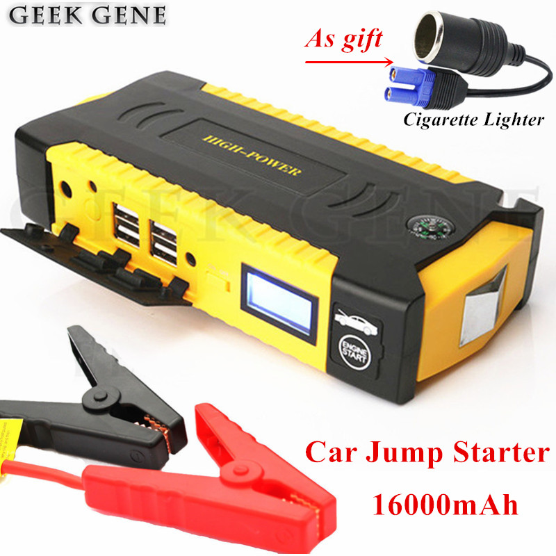 High Power Car Jump Starter 12V 600A Portable Car Charger For Car Battery Booster 16000mAh Super Starting Device Power Bank LED