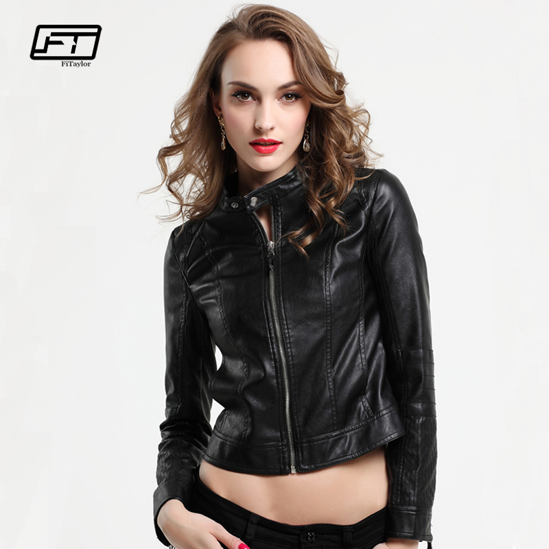 Fitaylor Women PU   Leather   Jackets Lady Black Pink Faux   Leather   Outwear Motorcycle Coat Spring Matte Biker Bomber Jacket