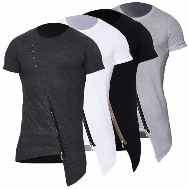 acd147515 ... 2018 Casual Hip Hop T shirts Mens Fashion Stylish Asymmetrical Design  Zipper Hem Round Neck Short