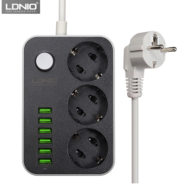 LDNIO Smart USB tira de alimentación carga 6 Puerto USB 5 V 3.4A cargador adaptadores 3 AC enchufes UE extensión del enchufe