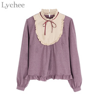 Japanese Lolita Style Spring Women Blouse Cute Bow Ruffles Turtleneck Long Sleeve Blouse