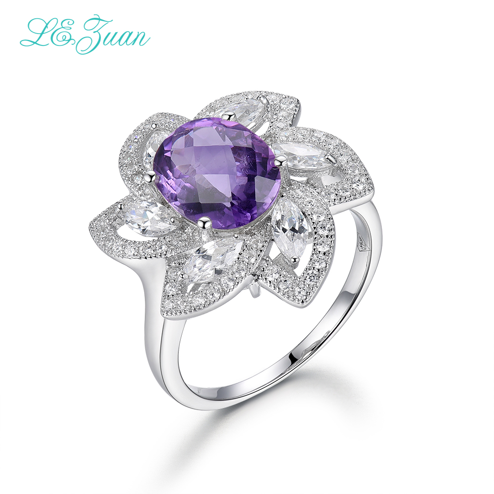 Здесь продается  I&zuan Real 925 Sterling Silver Jewelry Rings 5.06ct Natural Amethyst Flower Luxury Ring For Women  Ювелирные изделия и часы