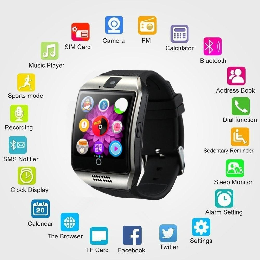 NFC Bluetooth Smart Watch Q18PLUS With Camera facebook Sync SMS MP3 Support Sim TF For IOS Android szmdc q18 bluetooth smart watch with camera facebook sync sms mp3 wristwatch support sim tf for ios android phone pk gt08 dz09