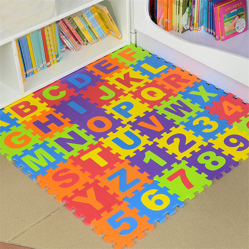 36Pcs/set EVA Foam Number Alphabet Puzzle Play Mat Baby Rugs Toys Play Floor Carpet Interlocking Soft Pad Children Games Toy
