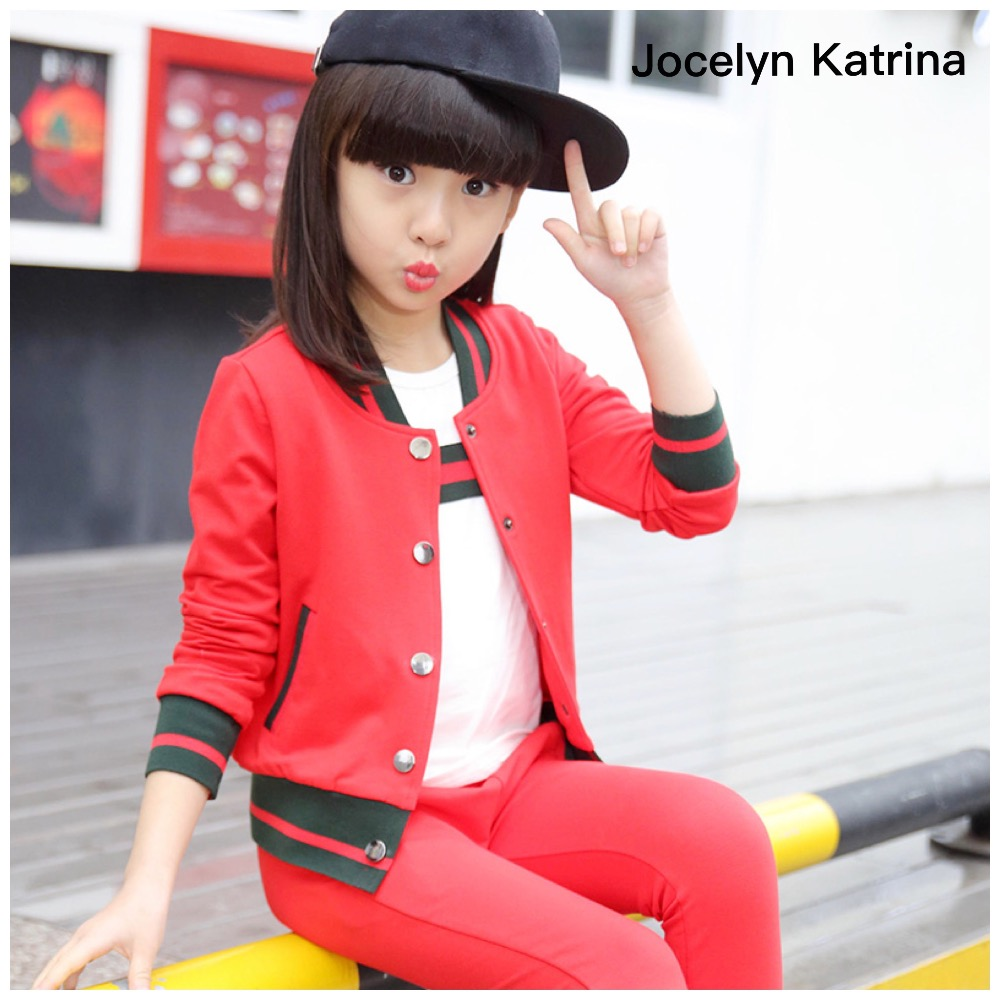 ФОТО Jocelyn Katrina Children's clothes girls spring suits the new 2017 sports fashion leisure two suits Children Sets