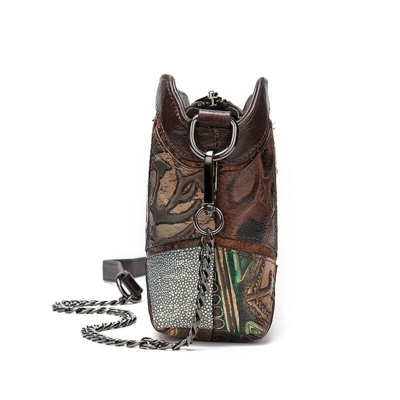 PNDME designer genuine leather ladies shoulder bag for women vintage handmade embossed luxury cowhide female crossbody bags 2019 in Shoulder Bags from Luggage Bags