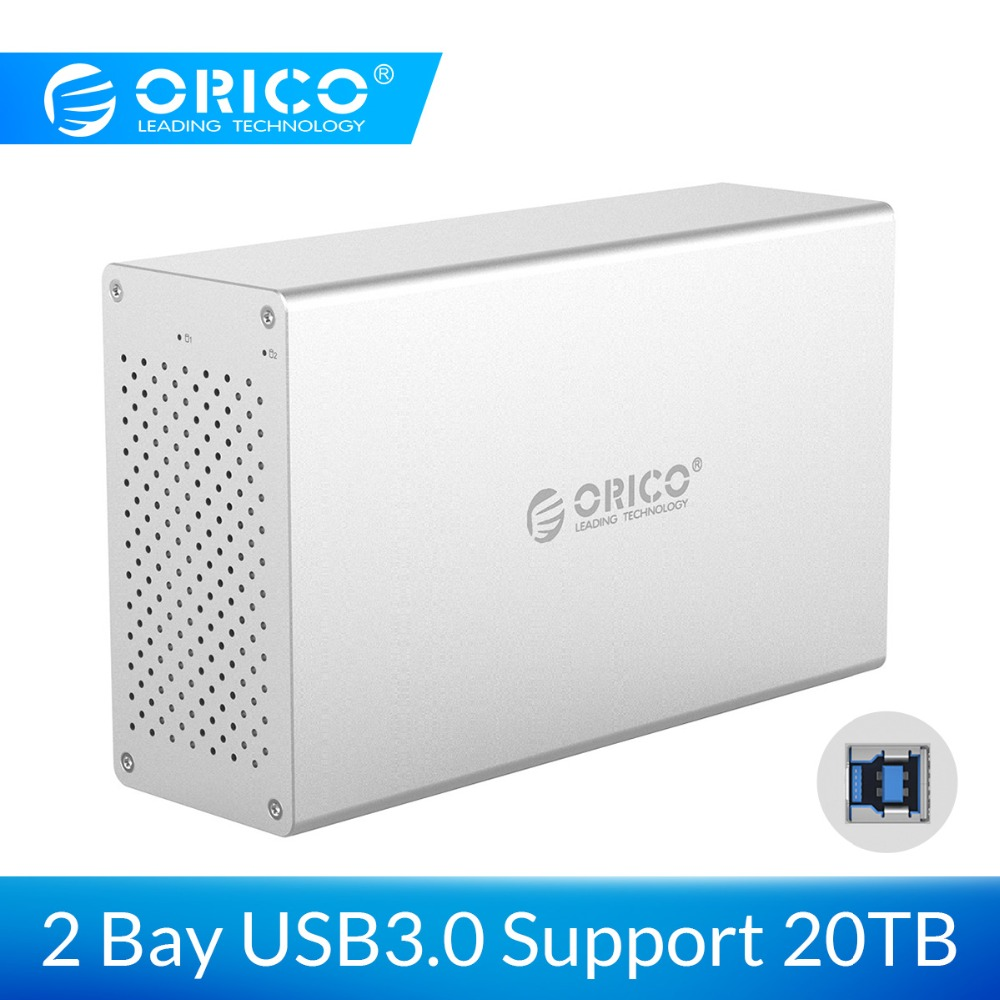 ORICO 2 Bay USB3.0 Hard Drive Enclosure Aluminum Alloy Support 20TB Storage 5Gbps 12V Power Adapter USB3.0 HDD Case