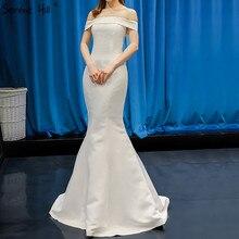 Vestidos de Noche atractivos del satén del cuello del barco blanco 2020 vestido Formal Simple del hombro de alta calidad foto Real 66833