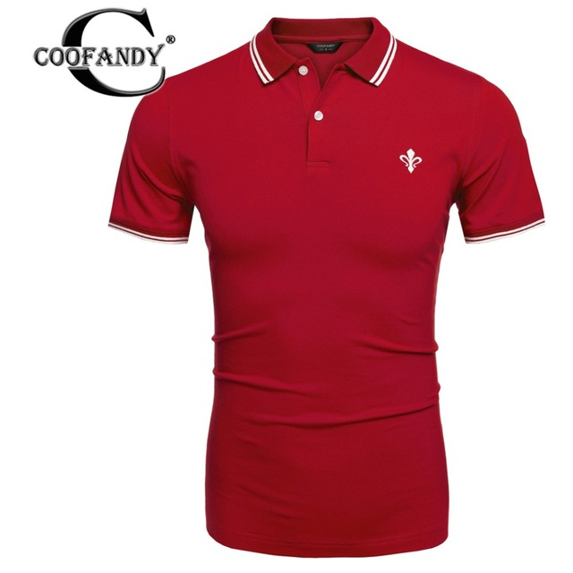COOFANDY Polo Shirt New 2017 Men's Brand US Size Shirt Polo Men Cotton Short Sleeve V neck Striped Button Male Pullover Shirt