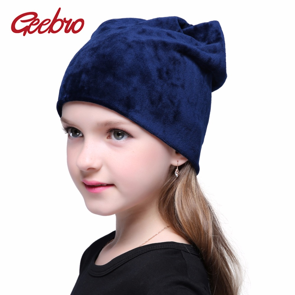 Geebro Spring Girls Plain Color Beanie Hat Warm Skullies Beanies Polyester Knitted Hats Casual Velvet Skullies Cap For Children
