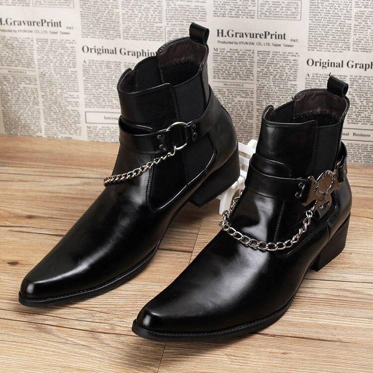 Errfc الأزياء الأمام الاتجاه مشبك الكاحل التمهيد براءات أشار تو الرجال السود الأحذية الجلدية الرجل سلاسل سحر حزب مشاهدة-في أحذية للدراجات النارية من أحذية على  مجموعة 3