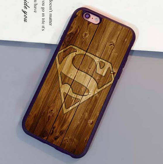 superman logo wood Printed Soft Rubber Skin Cell Phone Cases Accessories For iPhone 6 6S Plus 7 7 Plus 5 5S 5C SE 4S Back Cover