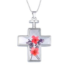 Fashion Jewelry New design Living Memory Glass Cross Shape Pendant Necklace Charm Dry Flower Locket