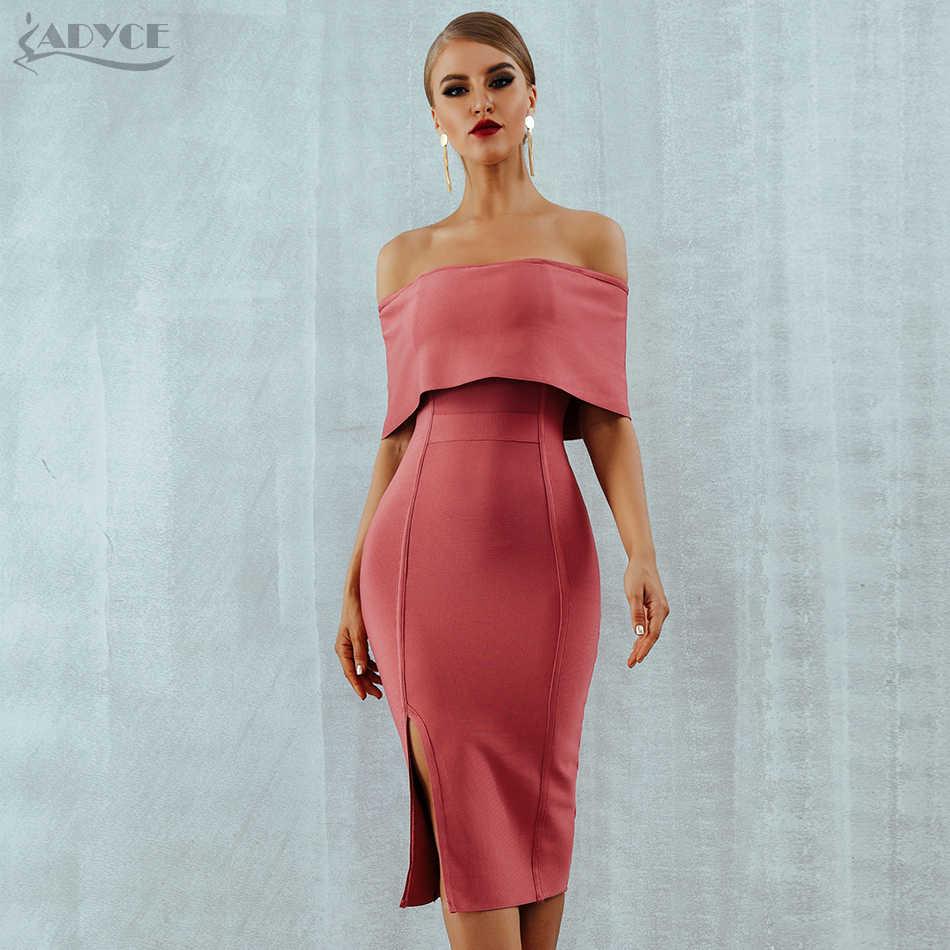 b1623731e8f ... Adyce 2019 New Summer Woman Bandage Dress Slash Neck Bodycon Off  Shoulder Midi Club Dress Celebrity ...