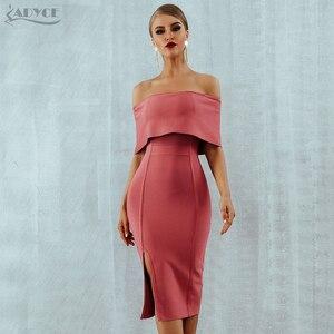 Image 4 - Adyce 2020 신 여름 여성 Bodycon 붕대 드레스 슬래시 목 어깨 미디 클럽 드레스 유명 인사 저녁 파티 드레스 Vestidos