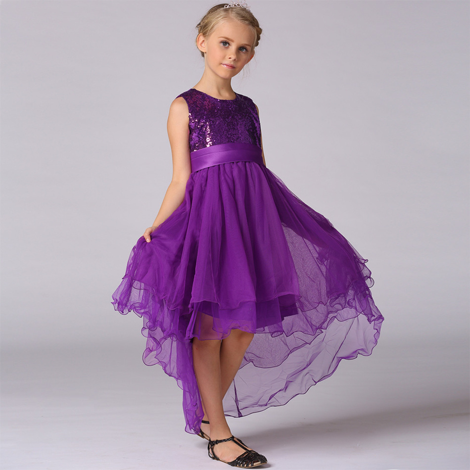 Luxury Elegant Flowers Girls Mermaid Dresses for Wedding Party Sequined Princess Evening Dress Girl Clothing Kids Clothes 2016