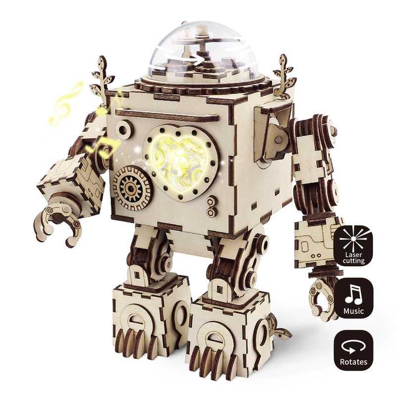 Robud Nova Figuras de Ação & Toy Assembléia 3D Modelo Puzzle De Madeira DIY Caixa de Música Modelo de Robôs Brinquedos para Crianças AM para Dropshipping