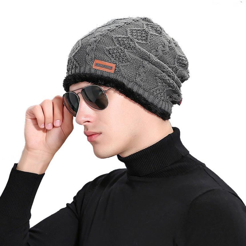 Brand Beanies Knit Men's Winter Hat Caps Skullies Bonnet Winter Hats For Men Beanie Warm Ski Beanie Skull Slouchy cap #430 winter hat warm beanie cotton skullies for women men hats crochet slouchy knit baggy beanies cap oversized ski toucas gorros