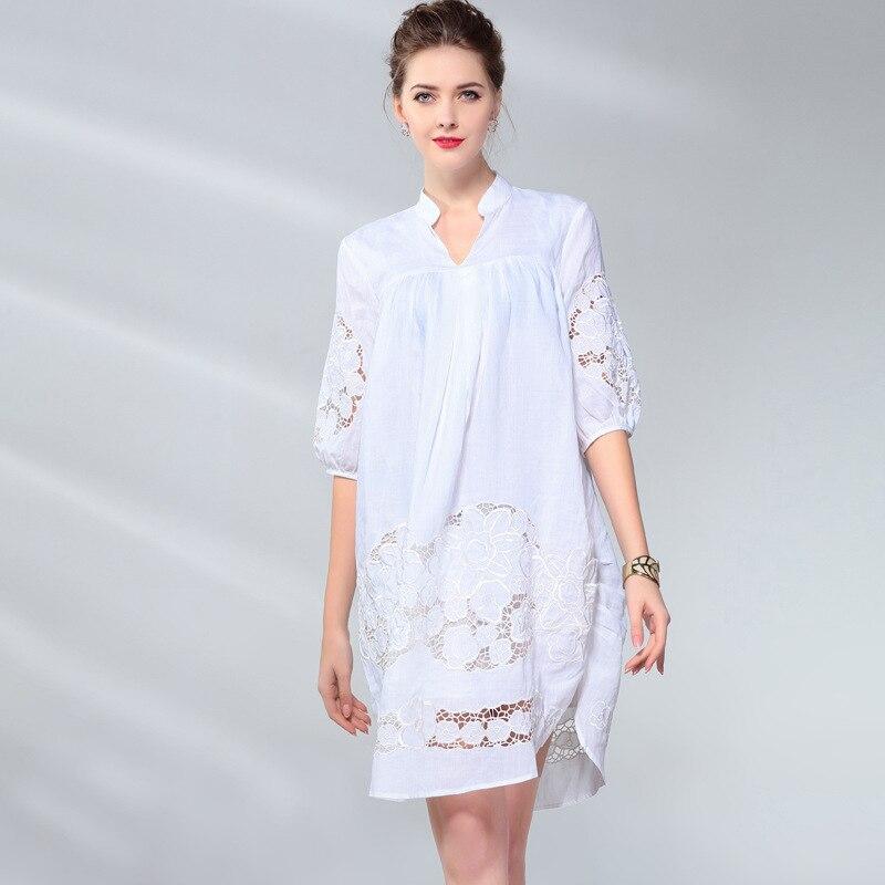 cou Robes Femmes V Ramie Blue white Manches Asymétriques Vintage D'été Lâche Robe Pour Élégant Printemps pink Lanterne Creux Et Chemise Out qcw8EaE0