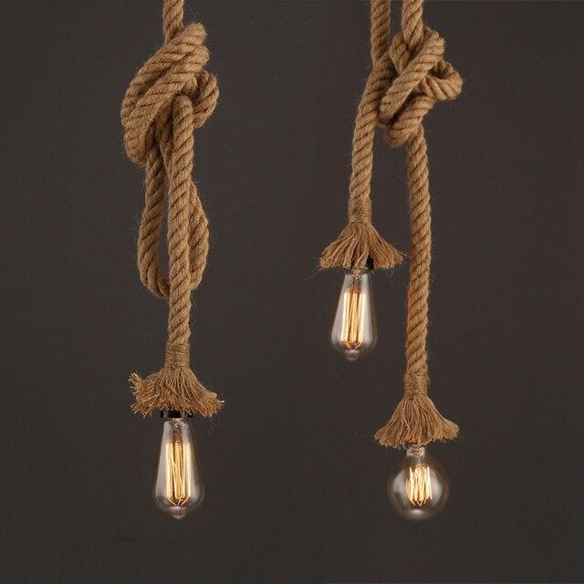 Butelive Vintage Hemp Rope Pendant Light Industrial Pendant Lamp Retro Bedroom