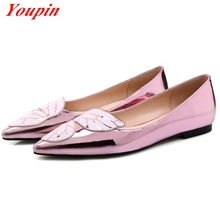 Mixed colors Patent Leather 2016 Latest Fashion Hot New Products Bowtie Shallow mouth Woman fashion shoes large size 34-43