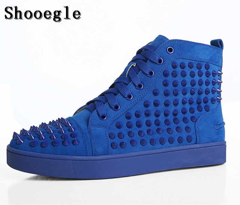 SHOOEGLE Big Size 39-47 Chaussure Homme Men Suede Spike Stylish Sneakers  High-top 131f38b047e0