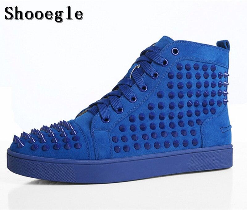 Tênis de Alta-top Sapatos de Plataforma Shooegle Tamanho Grande Chaussure Homme Homens Camurça Rebites Pico Stylish Ankle Boots Azul Vermelho 39-47
