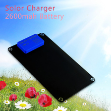 2600mah Outdoor Solar Power Bank USA Portable Solar Charger Panels External PowerBank Smart Phone Backup Battery for iphone 7 7p