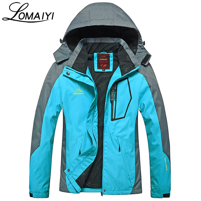 LOMAIYI Warm Womens Windbreaker 2017 Autumn Womens Basic Jackets Women Waterproof Coats Windproof Female Hooded Jacket,AW010