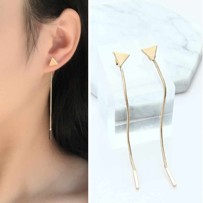Punk 2018 New Fashion Gold / Silver Stud Earrings Triangle Tassel Chain Earrings Wholesale Sales Earrings For Women Brincos