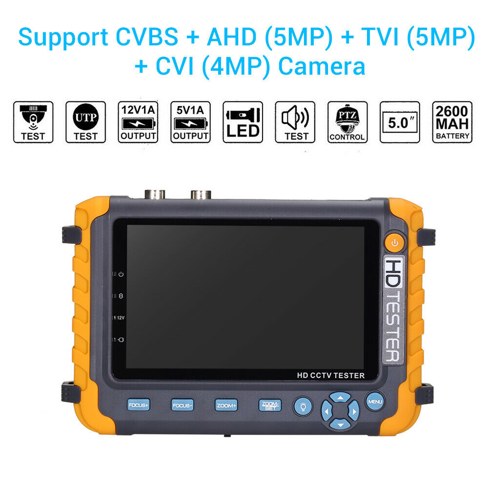 NEW 5 inch TFT LCD HD 5MP TVI AHD CVI CVBS Analog Security Camera Tester Monitor in One CCTV Tester VGA HDMI Input IV8WNEW 5 inch TFT LCD HD 5MP TVI AHD CVI CVBS Analog Security Camera Tester Monitor in One CCTV Tester VGA HDMI Input IV8W