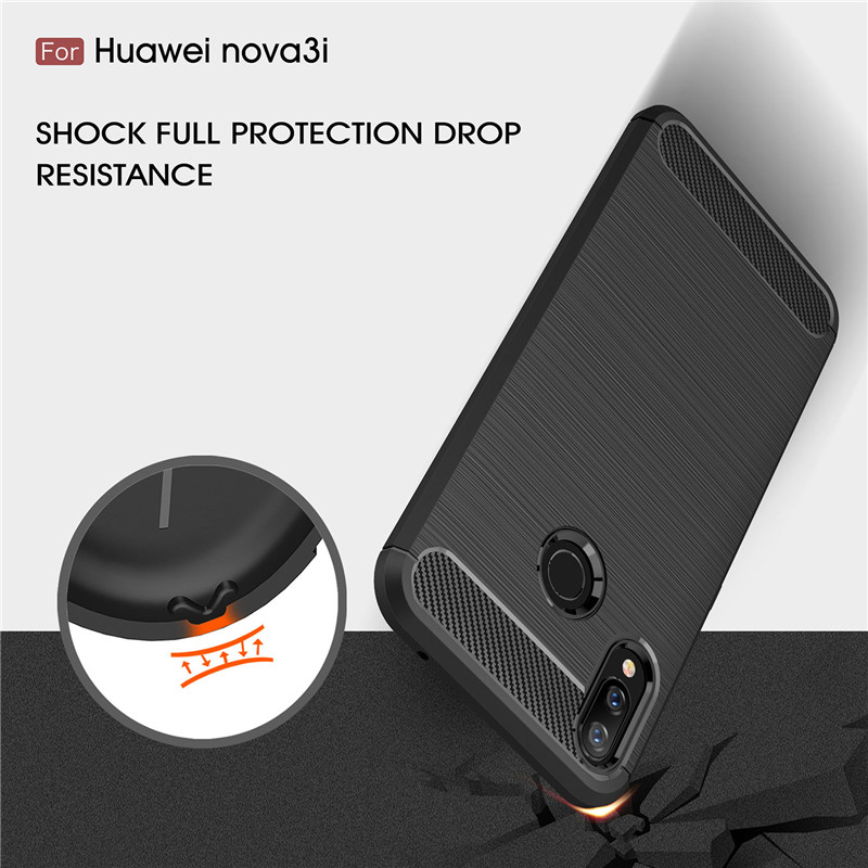 BSNOVT Huawei P Smart Plus INE-LX1 Cover Shockproof Silicone Brushed Phone Bumper Back Case For Huawei Nova 3i INE-LX2 INE-LX9