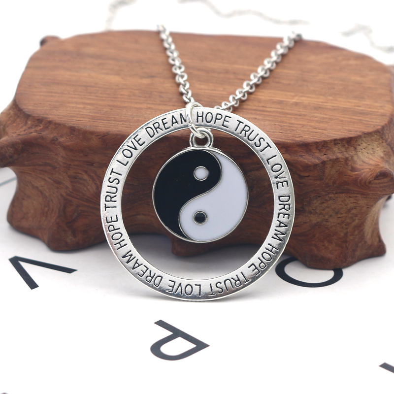 Retro Black And White Yin And Yang Tai Chi Pendant Necklace Silver Alloy Letter Round Tag Necklace Men And Women Trend Jewelry in Pendant Necklaces from Jewelry Accessories